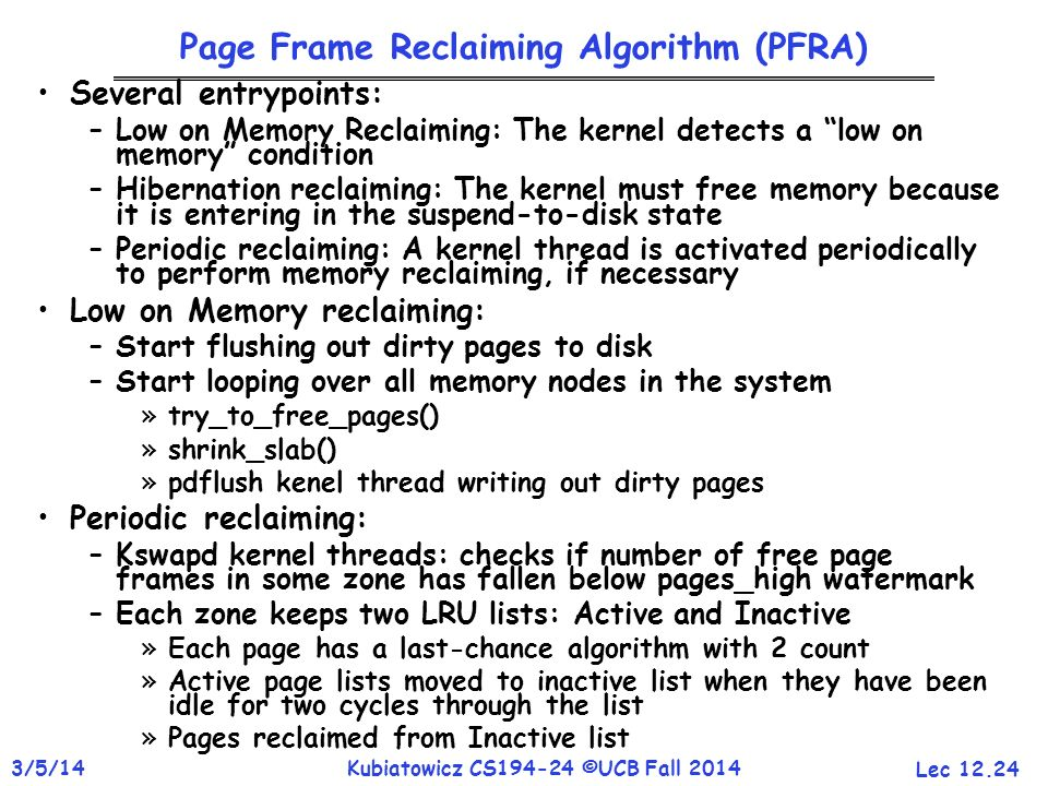 Page Frame Reclaiming Algorithm (PFRA)