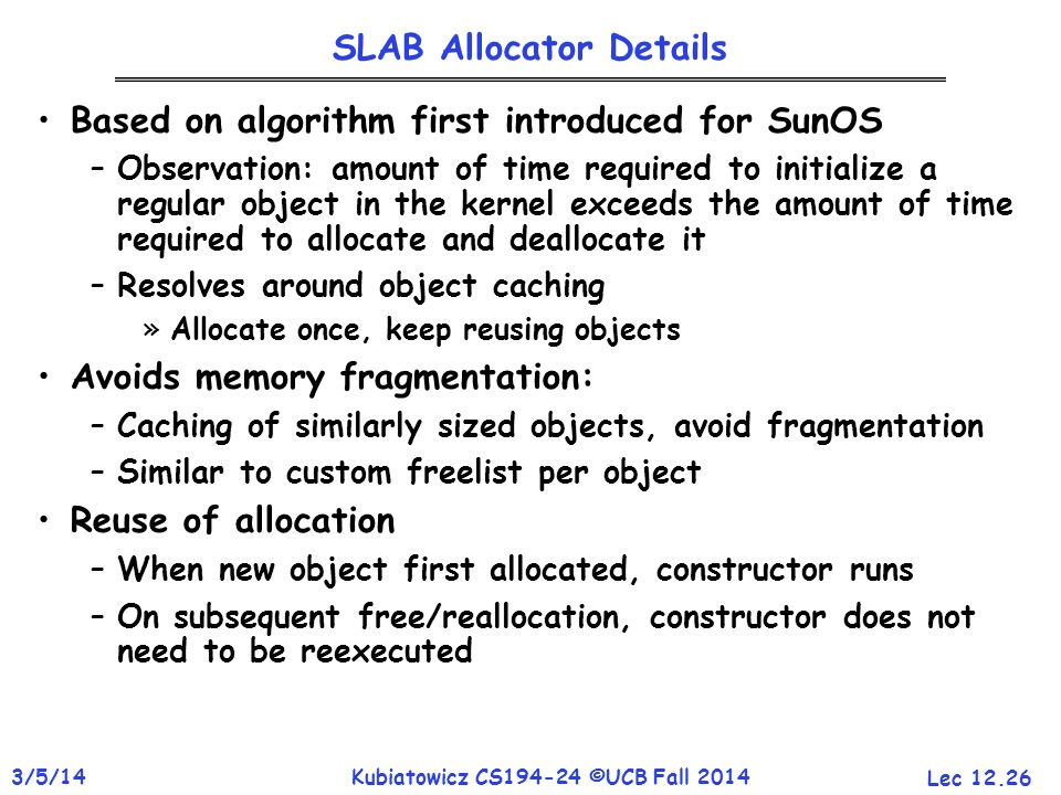 SLAB Allocator Details