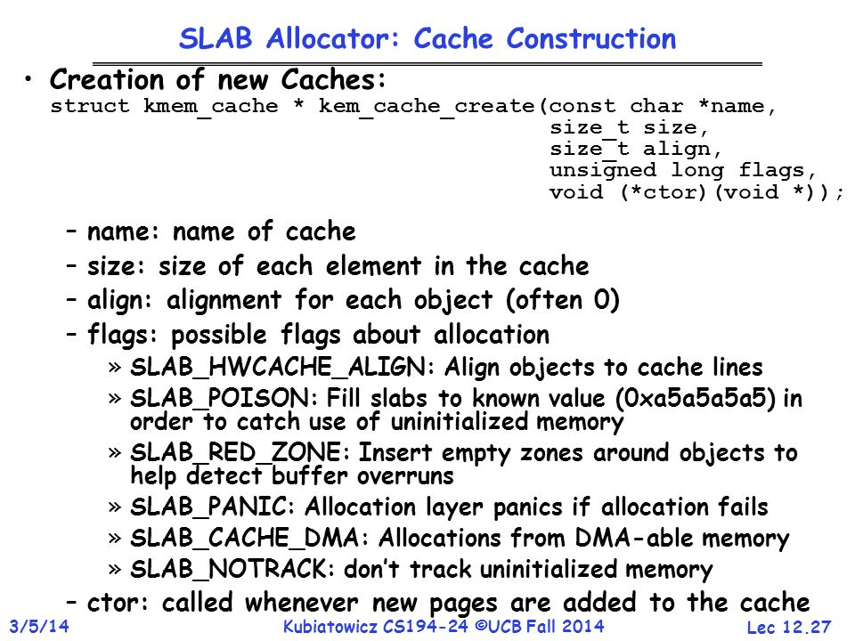 SLAB Allocator: Cache Construction