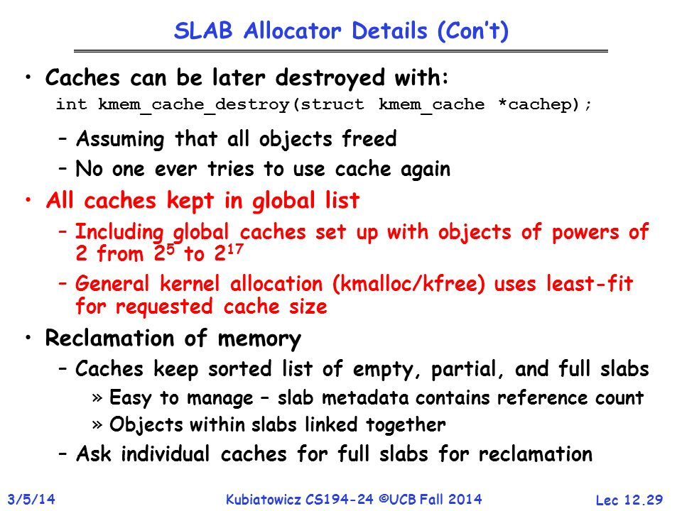 SLAB Allocator Details (Con't)