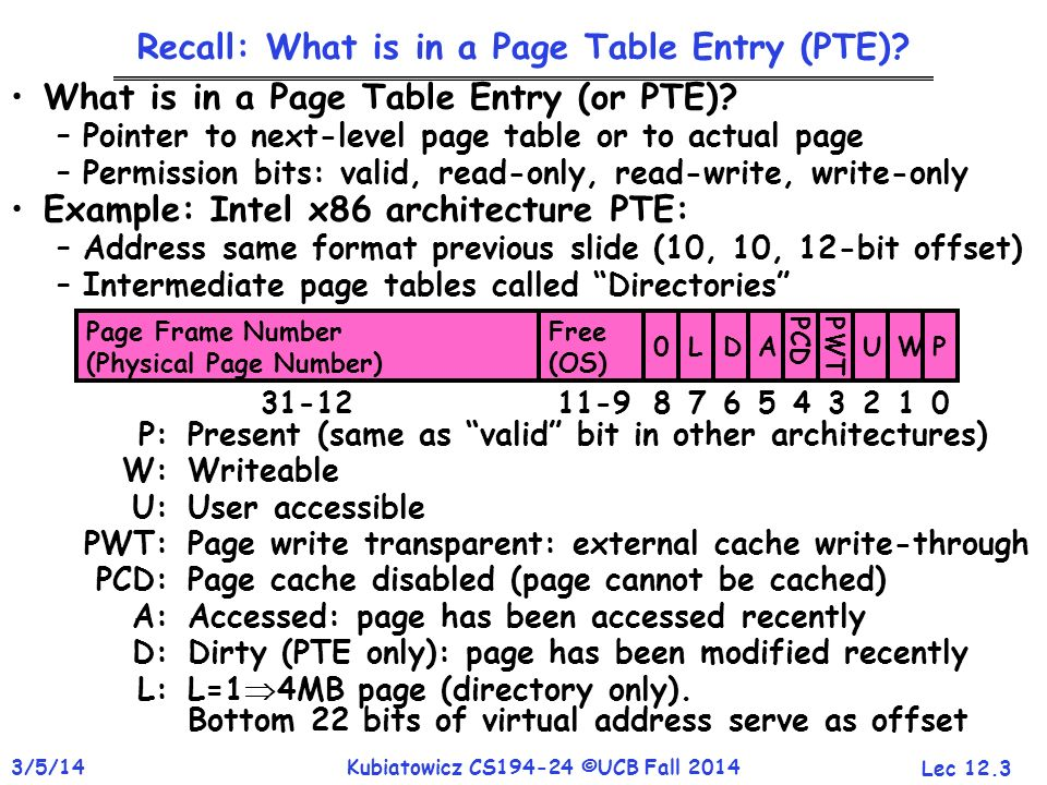 Recall: What is in a Page Table Entry (PTE)