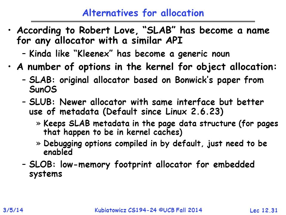Alternatives for allocation