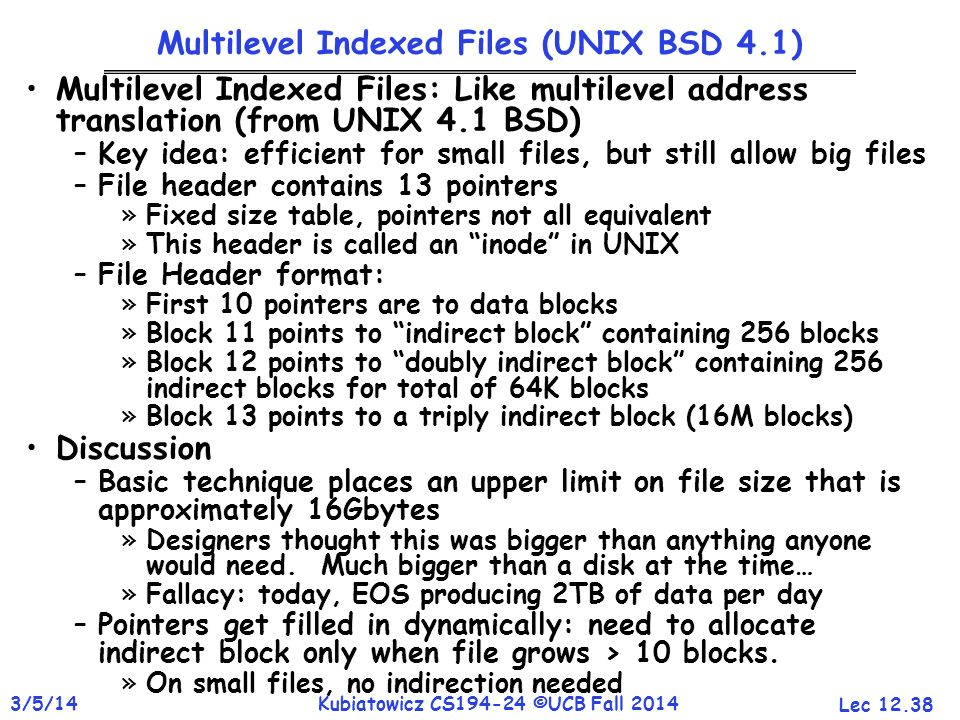 Multilevel Indexed Files (UNIX BSD 4.1)