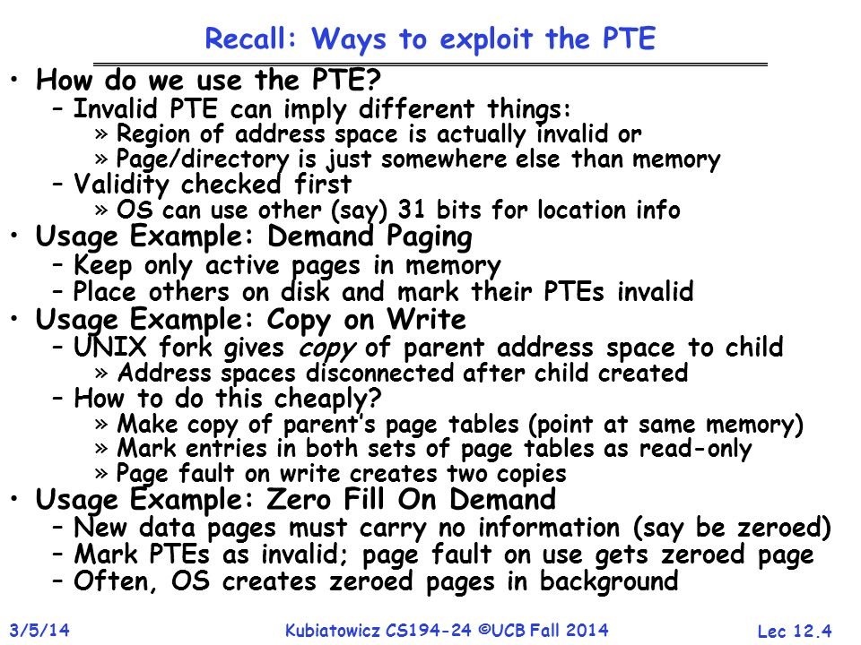 Recall: Ways to exploit the PTE