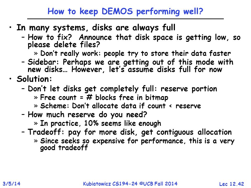 How to keep DEMOS performing well