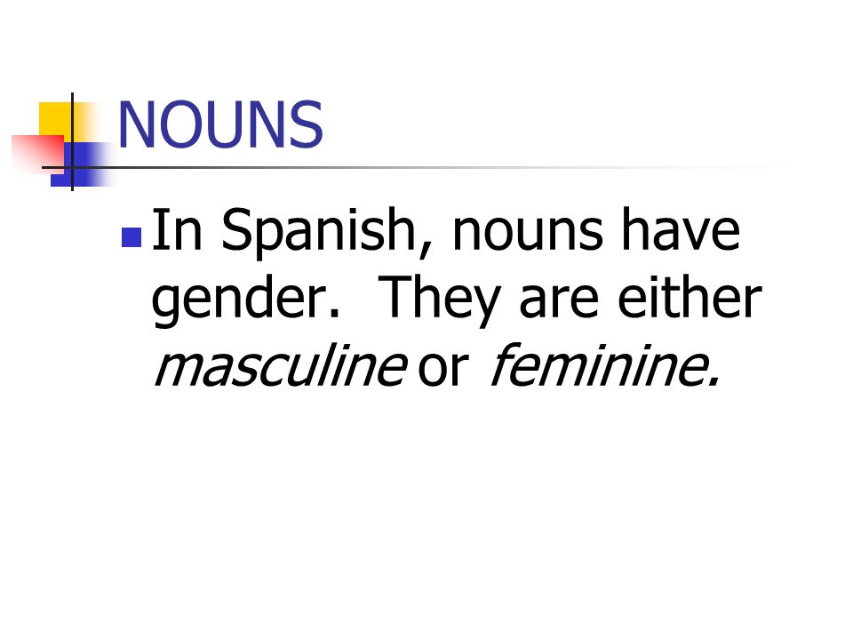 NOUNS In Spanish, nouns have gender. They are either masculine or feminine.