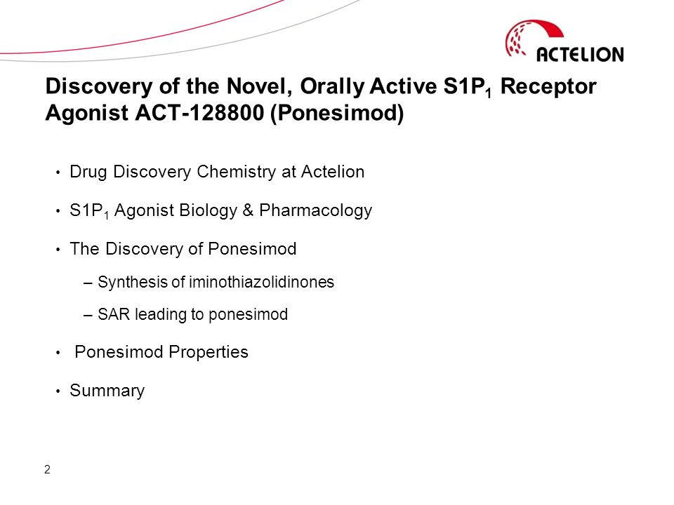 Discovery of the Novel, Orally Active S1P1 Receptor Agonist ACT-128800 (Ponesimod)