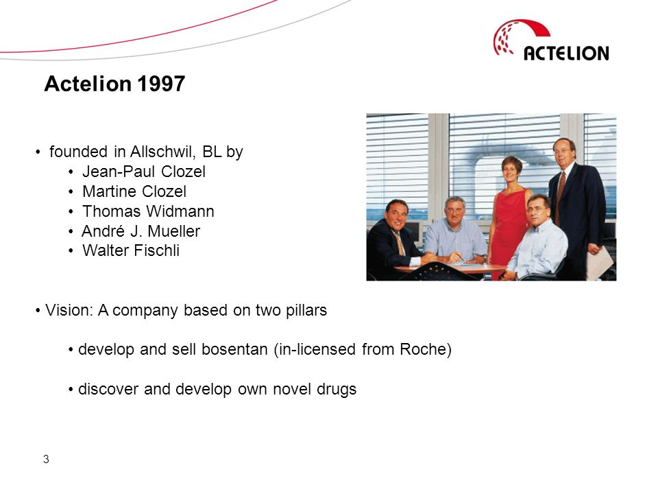 Actelion 1997 founded in Allschwil, BL by Jean-Paul Clozel