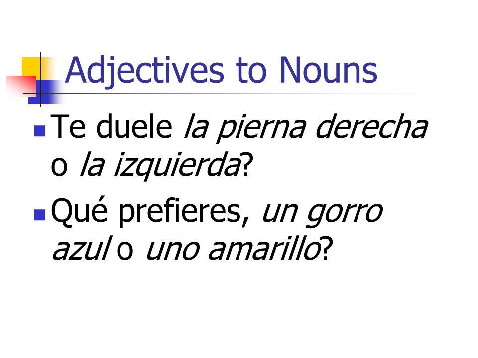 Adjectives to Nouns Te duele la pierna derecha o la izquierda