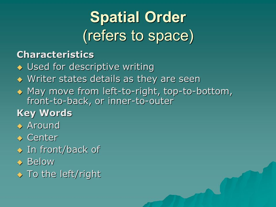 spatial order in writing Excellent quality papers starting at $798 per page get discount now  academic writing service - best in canada, example of spatial order paragraph.