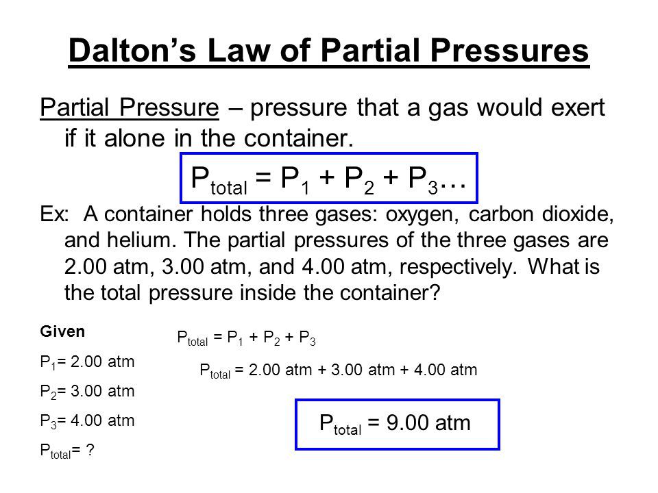 daltons law of partial pressure essay Dalton's law ~ the partial pressure of each gas in a mixture of gases is proportional to the proportion of moles that the gas represents in the mixtureptotal = p1 + p2 + p3&#133composition of dry airpercentagepartial pressure (kpa)n2781 %7911o.