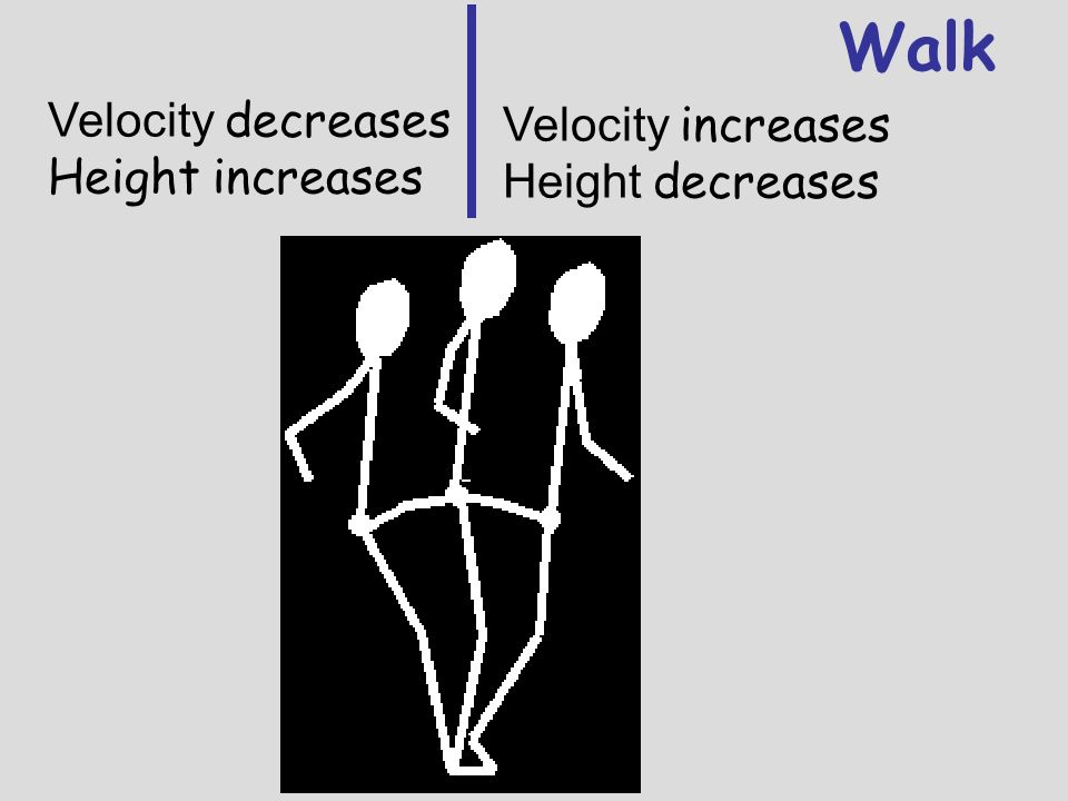 Walk Velocity decreases Velocity increases Height increases