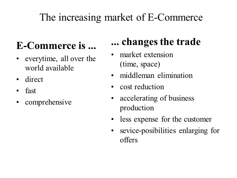 The increasing market of E-Commerce