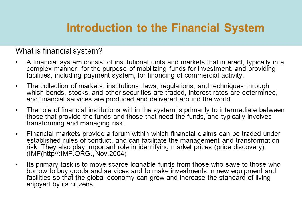 an introduction to the mexican financial system Chapter-1 introduction to financial management 1–10 introduction 1 meaning of finance 1 definition of finance 1  introduction 225 financial system in india 225.