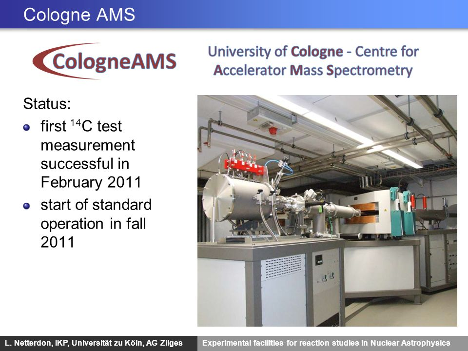 Cologne AMS Status: first 14C test measurement successful in February 2011.