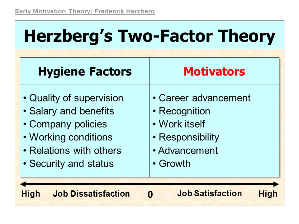 motivational theories and factors 2 essay Hertzberg's two factor theory of motivation essay 1432 words 6 pages it is a known fact that our society and our workforce continues to change, however the same question of increasing worker productivity continues to be asked by organizations and managers alike.