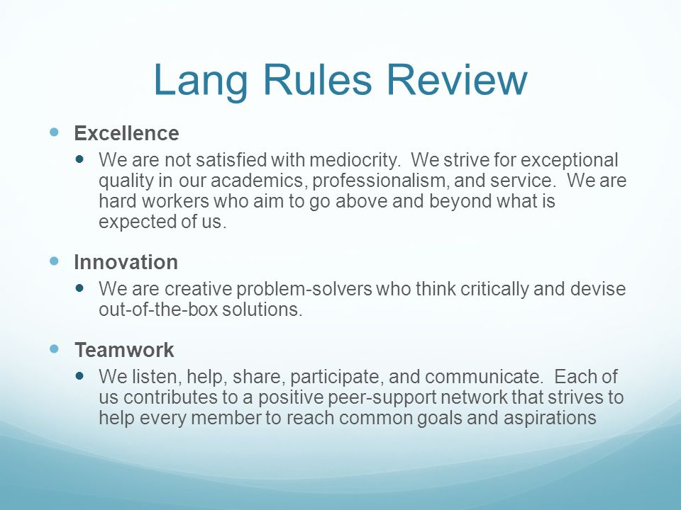 Lang Rules Review Excellence Innovation Teamwork