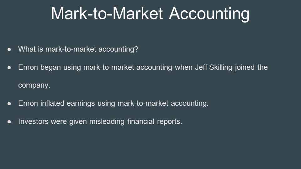 mark to market accounting One of the most contentious issues raised during the recent crisis has been the potentially exacerbating role played by mark-to-market accounting many have pro.