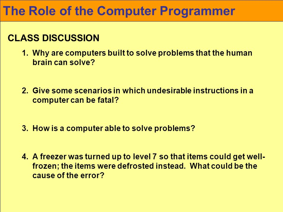 a discussion about the roles of computers Using computers to assist in teaching and learning using folders within the discussion forum, students can meet online to do group projects.