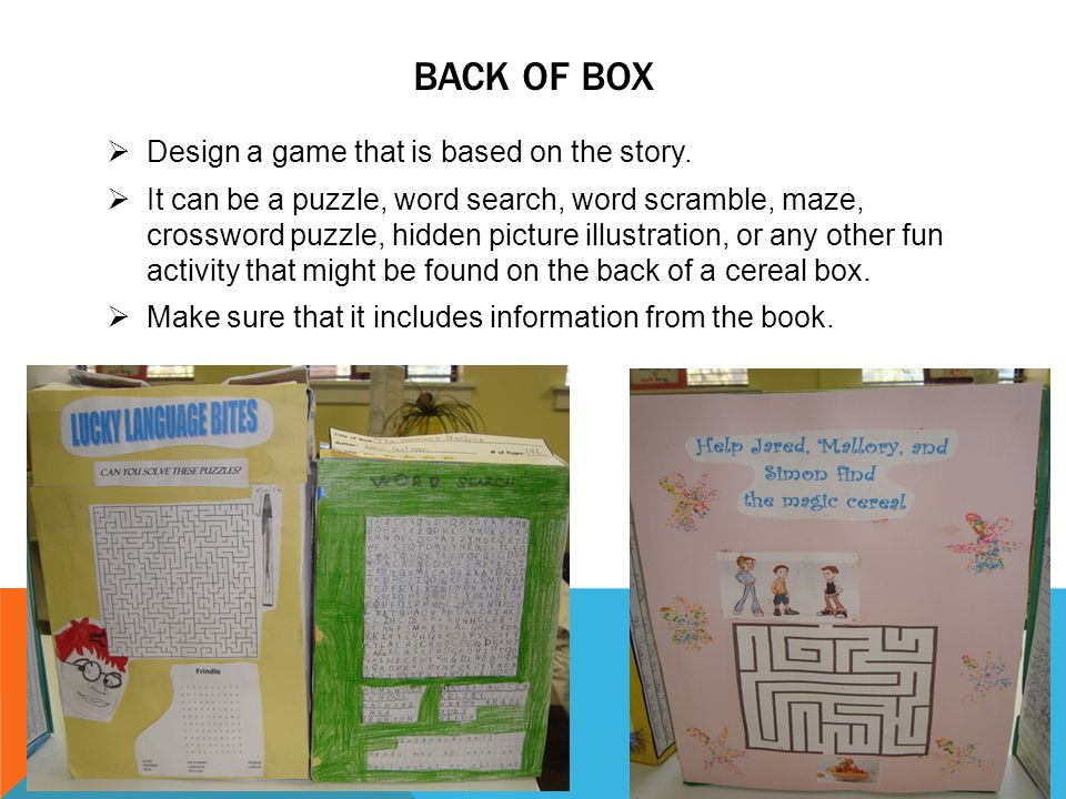 cereal box book report games Cereal box book report genre: fiction chapter book directions: 1) find a chapter book that is neither too easy nor too hard for you you must choose a book by friday, august 19th.