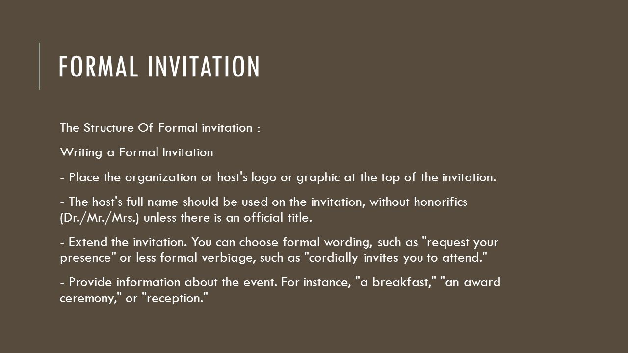 formal invitation template for an event - formal and informal invitation ppt download