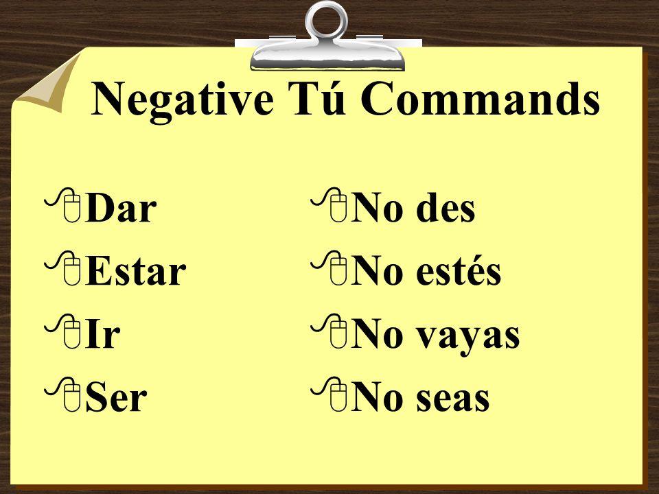 Negative Tú Commands Dar Estar Ir Ser No des No estés No vayas No seas