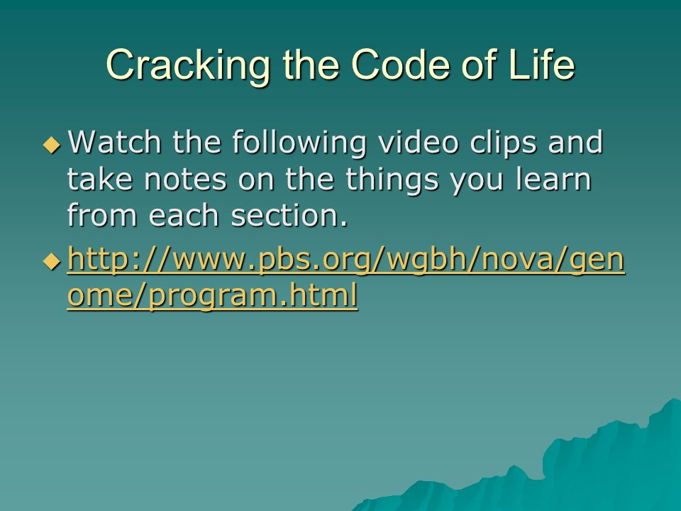 Chapter 14 The Human Genome Pg ppt download – Nova Cracking the Code of Life Worksheet