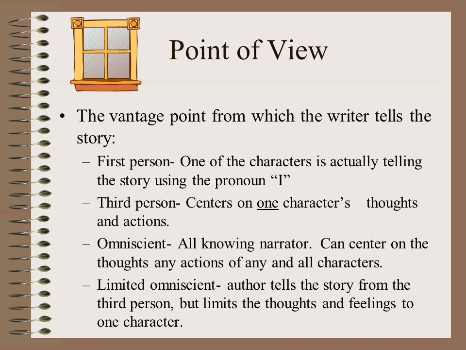 Point of View The vantage point from which the writer tells the story: