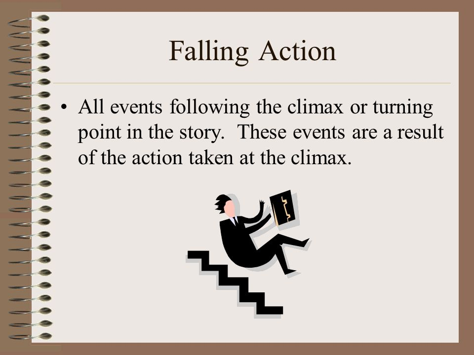 Falling Action All events following the climax or turning point in the story.