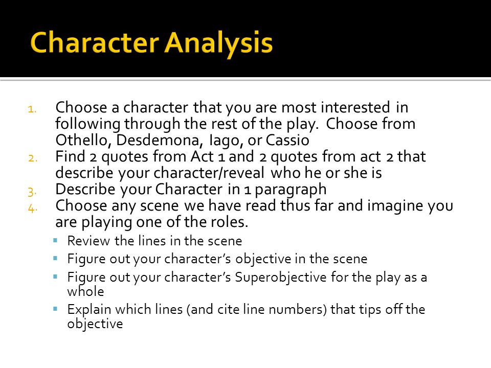 Othellocharacter analysis of iago