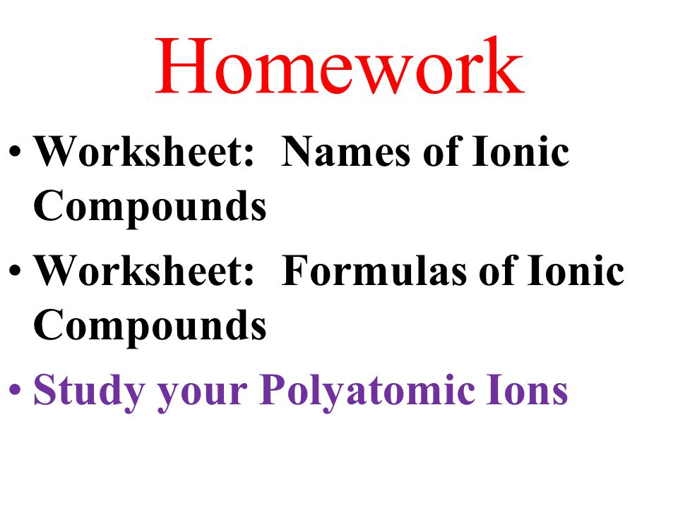 Writing Formulas and Names of Ionic Compounds ppt download – Ionic Compounds Worksheet