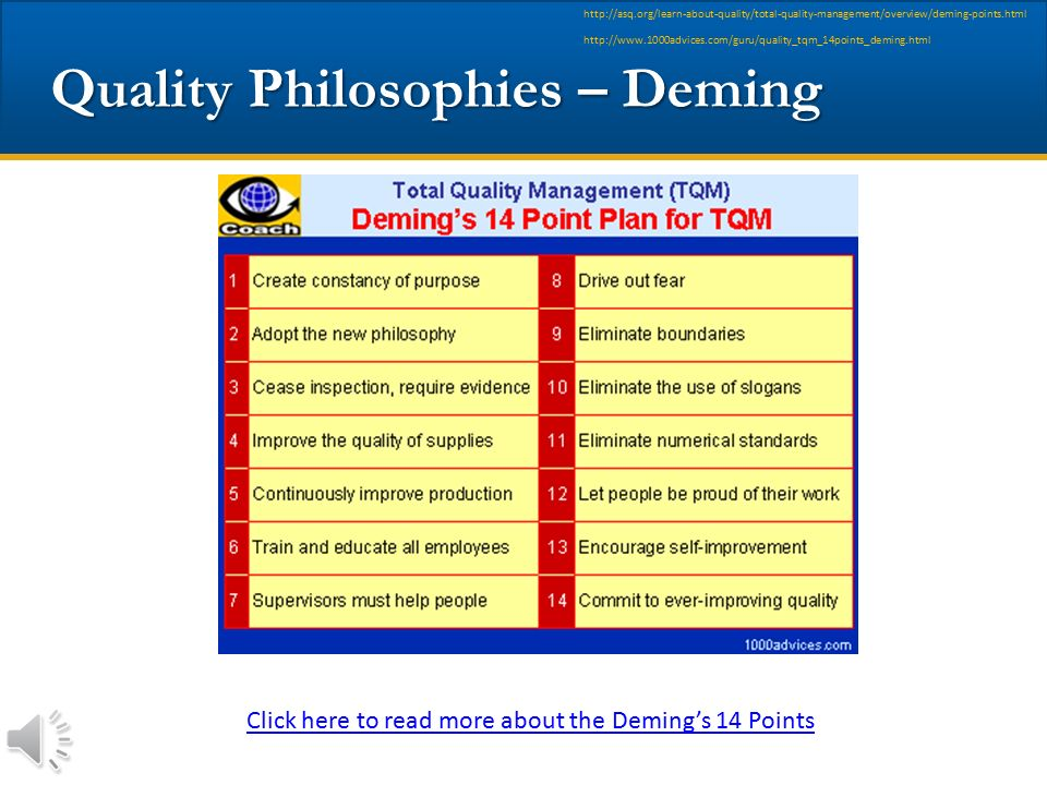 Quality Philosophies – Deming