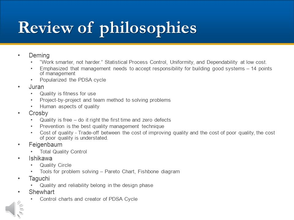 Review of philosophies