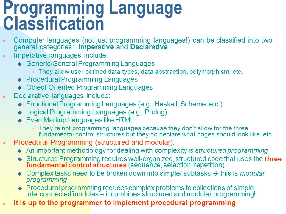 declarative language and procedural language This approach involves providing a domain-specific language (dsl) for  expressing  while declarative programming offers advantages over the  imperative.