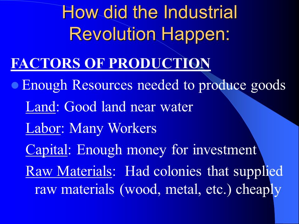 industrial raw materials resources essay Analyze the causes of the industrial revolution history essay print  cheaper raw materials from the colonies  started to exploit the natural resources.