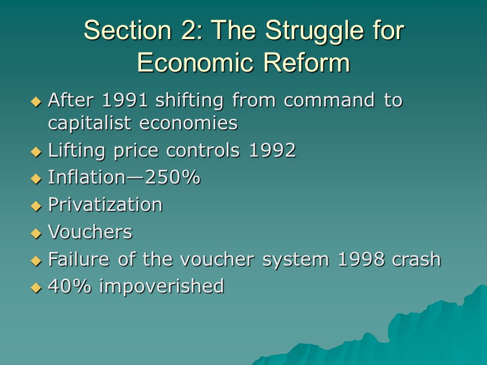 a study of the failure of economic reform in russia Russian, and eurasian studies at the george washington university and an  adjunct professor in  introducing economic reforms and privat.