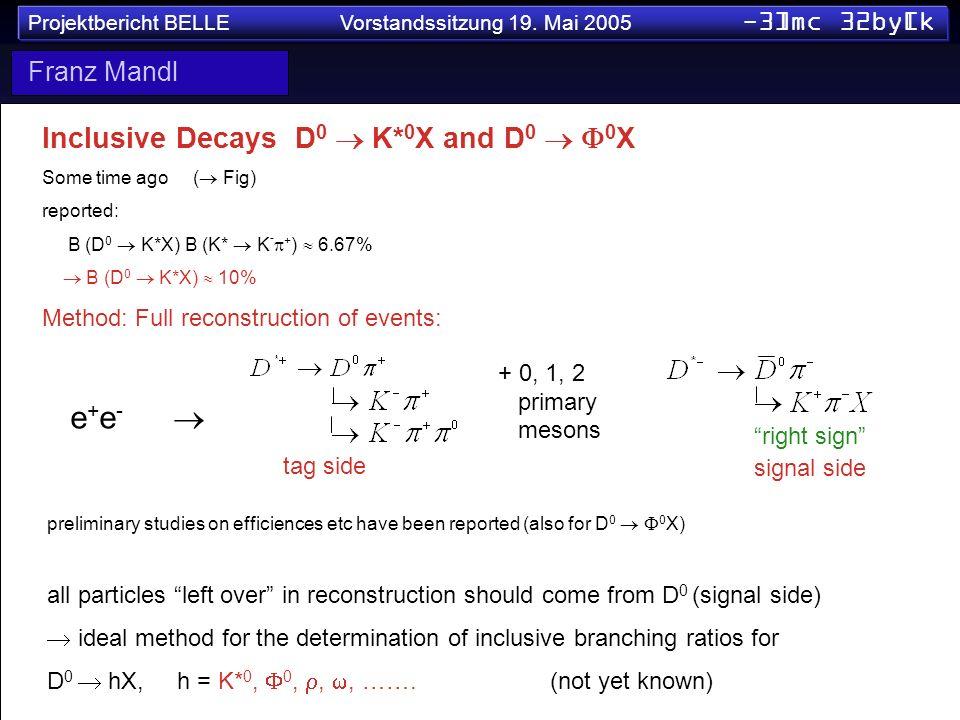e+e-  Inclusive Decays D0  K*0X and D0  0X Franz Mandl