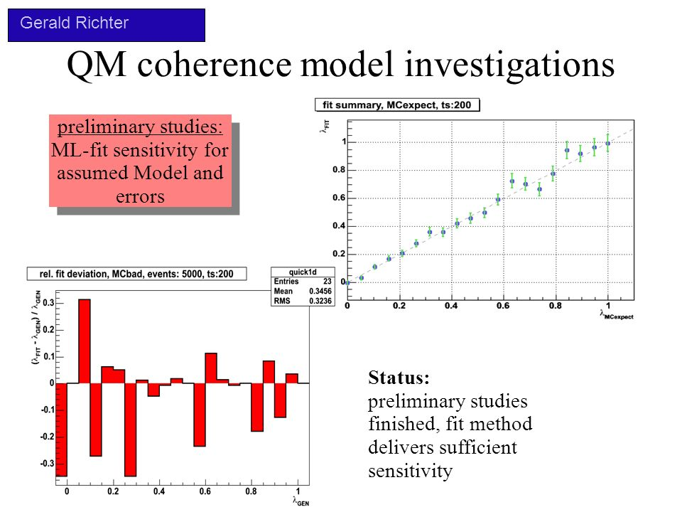 QM coherence model investigations