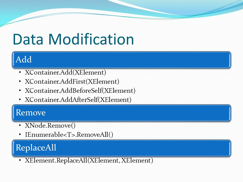 Data Modification Add Remove ReplaceAll XContainer.Add(XElement)
