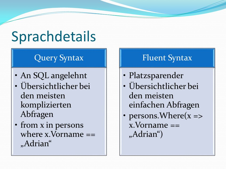 Sprachdetails Query Syntax An SQL angelehnt