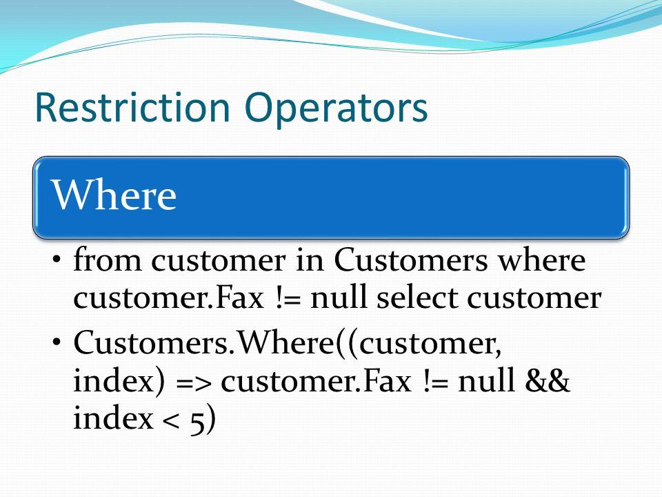 Restriction Operators