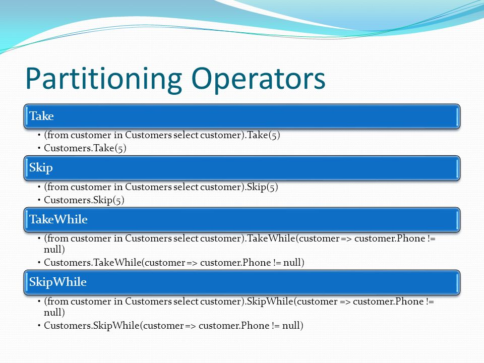 Partitioning Operators