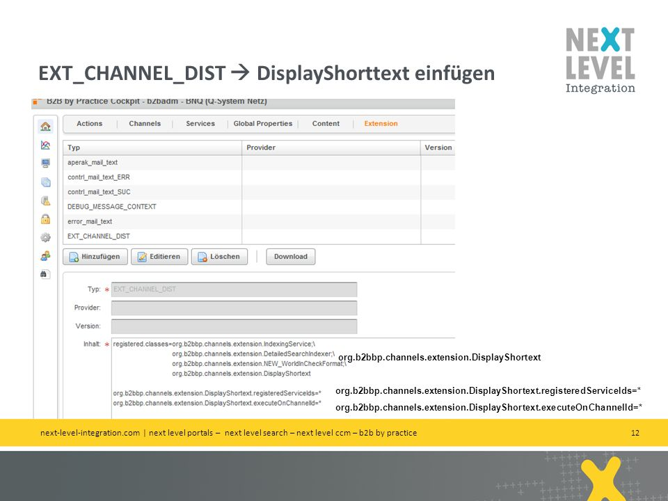 EXT_CHANNEL_DIST  DisplayShorttext einfügen
