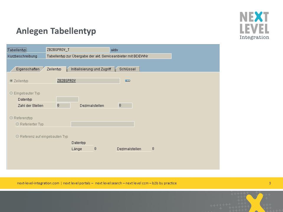 Anlegen Tabellentyp next-level-integration.com | next level portals – next level search – next level ccm – b2b by practice.