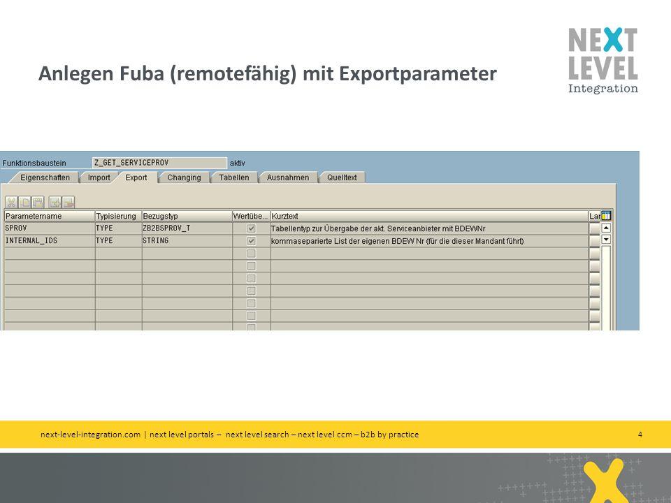 Anlegen Fuba (remotefähig) mit Exportparameter