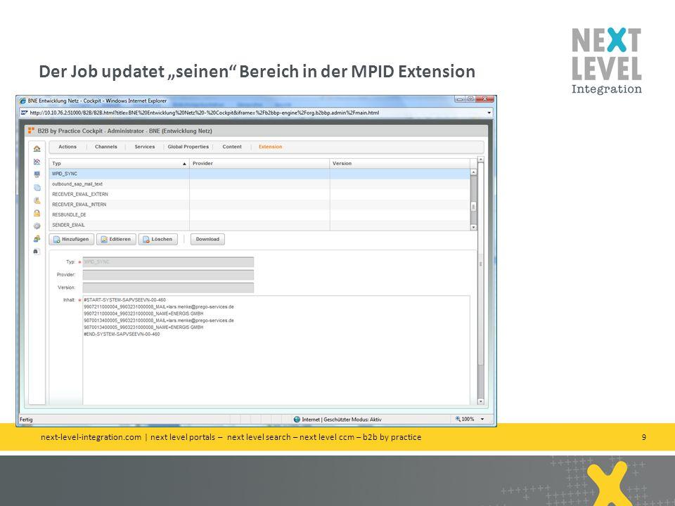 """Der Job updatet """"seinen Bereich in der MPID Extension"""