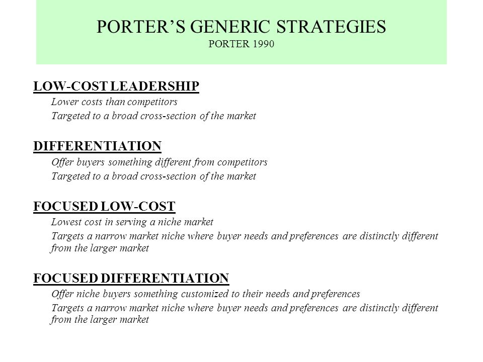 """porter s generic strategies for game console industry Porter's """"5 forces"""" model porter competitive model  generic vs name-brand drugs intra-industry rivalry (video game consoles."""