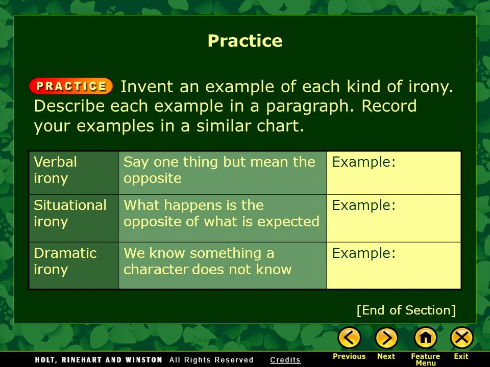 Practice Invent an example of each kind of irony. Describe each example in a paragraph. Record your examples in a similar chart.