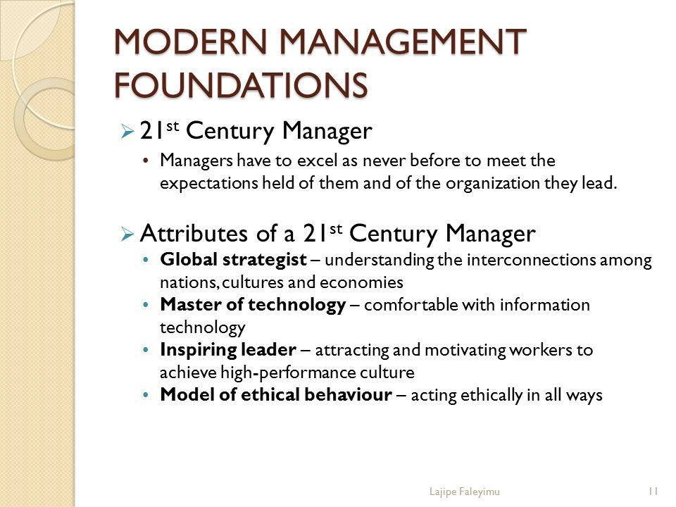 MODERN MANAGEMENT FOUNDATIONS