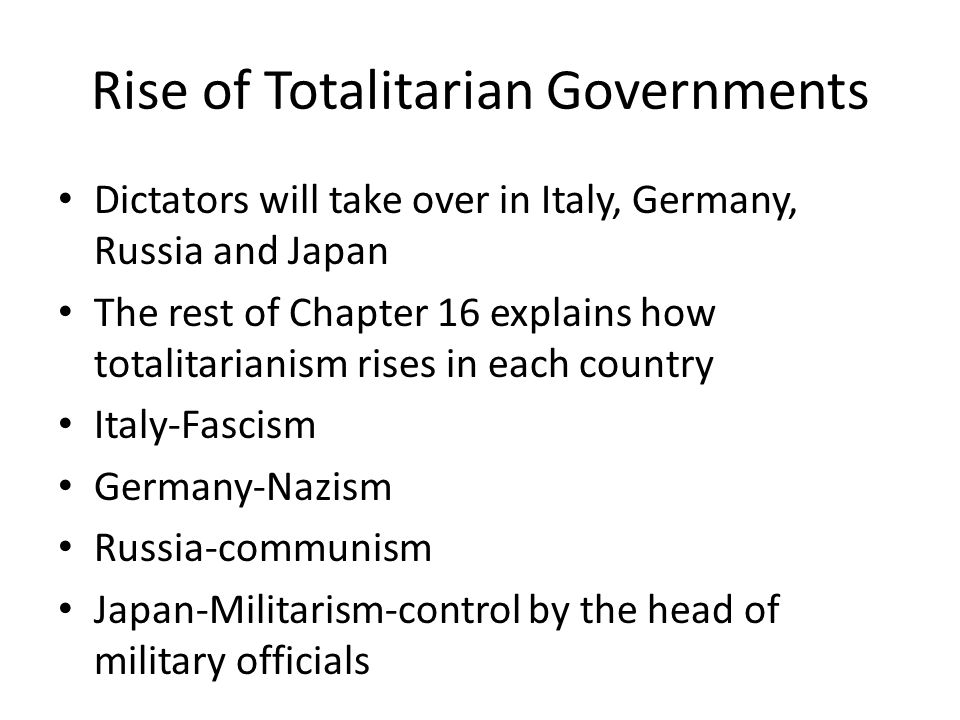 Chapter 16 Overview The Rise of Totalitarianism - ppt download
